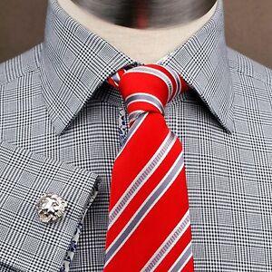 Black Plaids & Checks Pattern Formal & Business Dress Shirt French Double Cuffs