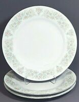 3 Pink Floral with Silver Trim Bread Salad Dessert Plates