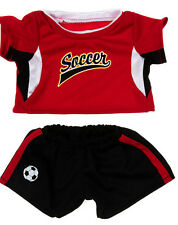 "TEDDY BEAR RED SOCCER Uniform CLOTHES Fit 14""-18"" Build-a-bear !!NEW!!"