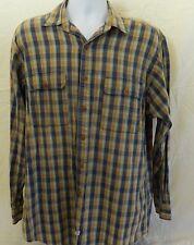 Polo Ralph Lauren Men's Long Sleeve Shirt Size M Medium Blue/Brown Cotton Square