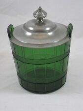 Biscuit Barrel - Candy Dish Glass w/ Pewter Lid