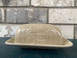 DAVCO Silver LTD. Cream White Porcelain Reticulated Butter Dish
