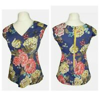 Joules Blue Floral Rose Cotton V Neck Casual Holiday Top Size 8