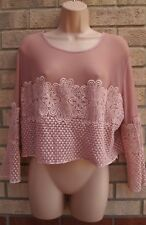 NEW LOOK PINK  FLORAL CROCHET LACE LONG SLEEVE MESH LYCRA LONG TOP BLOUSE 16 XL