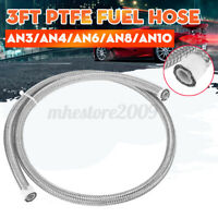 AN3/AN4/AN6/AN8/AN10 3FT Fuel Hose Oil Gas Line PTFE Stainless Steel Braided