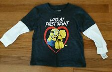 BOY'S DESPICABLE ME VALENTINE'S DAY MINIONS *LOVE AT FIRST SIGHT* SHIRT-NWT!