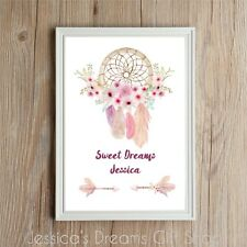 New Personalised Name Dream Catcher  Flower Print GiftBirthday Christmas Present