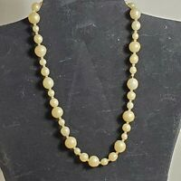 """Vintage Faux Pearl 16"""" Choker Necklace Off-White Beaded / Wire Clasp USA SHIPPER"""