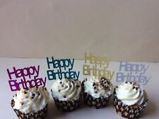 HAPPY BIRTHDAY GLITTER MIXED  CUP CAKE TOPPERS X 12
