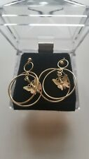 Black Hills Gold 10 kt 12 kt Dimensional Hoop with butterfly earrings