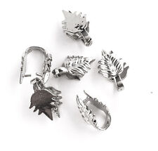 Antique Silver Plated 17mm Leaf Pinch Bail Findings • Q6 • 65340