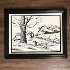 H Hargrove Signed Lithograph Black & White Framed Canvas Barn Farm Scene Vintage