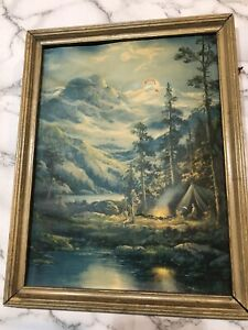 VINTAGE WILLIAM THOMPSON FRAMED PRINT TEEPEE CAMPFIRE RIVER MOUNTAINS