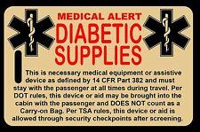 Tan Carry-On Diabetic Supplies  Bag Tag - TSA - CPAP BiPAP APNEA POC