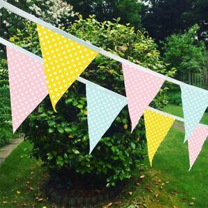 Handmade Fabric Bunting 10-50ft Wedding Birthday Party Christening Shabby Chic