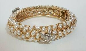 Kenneth Jay Lane KJL Bracelet - Crystal Starfish & cabochons - Sea Gold Nautical