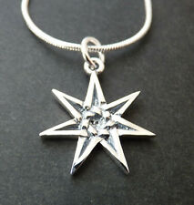Sterling Silver ELVEN STAR SEPTAGRAM PENDANT. Wiccan/Pagan/Faery/ Magic/Kabbalah