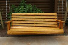 ROLL BACK Amish Heavy Duty 5ft Cedar Stained Porch Patio Swing Outdoor Furniture