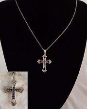 "SWAROVSKI Crystal Lavender CROSS NECKLACE Platinum Bond/Brass 20"" Chain"