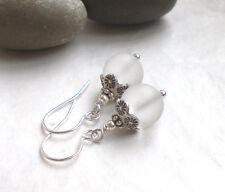 925 Silber Vintage Ohrringe Bergkristall weiß, Sterlingsilber Ohrhänger r188