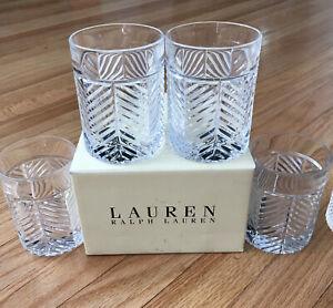 "SET OF 4 RALPH LAUREN CRYSTAL HERRINGBONE 4 1/8"" DOUBLE OLD FASHIONED GLASSES"