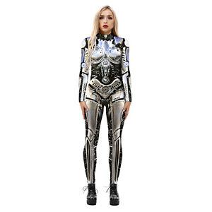 Women Halloween Skeleton Jumpsuit Cosplay Catsuit Party Slim Fancy Dress Costume