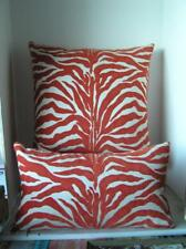 "Elaine Smith Indoor / Outdoor Orange Zebra Lumbar Pillows 9""x19"" & 19"" square"