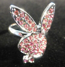 Playboy Pink Platinum Plated & Swarovski Crystal Bunny Adjustable Ring Gift Box