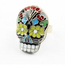 Hot New Charm Enamel Glazed Flower Skull Head Mask Finger Rings Size Adjustable