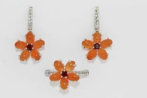 925 SS Orange Chalcedony/Garnet/White Topaz Ring,Earring Set(11.21 cts)