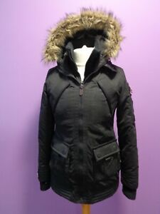 Superdry Ladies Black Windcheater Parka Coat With Hood Size M