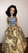 "Snow White Disney Store Exclusive Classic 12"" Barbie Doll Gold Dress"