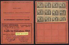 PARTI SOCIALISTE - SFIO - MAISONS ALFORT /1958 FEUILLE DE COTISATION (ref 6224n)