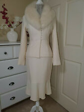 DD Collection 2Pc Skirt & Blazer Suit CreamyWhite Wool Blend Fax Fur Collar Sz.4