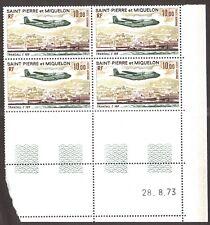 St Pierre et Miquelon 1973 ,Transall C160 ,Yvert# PA57 Bloc de 04 , Coins Daté**