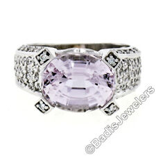 14K White Gold 4.47ctw Oval Kunzite Solitaire & Round Pave Diamond Drenched Ring
