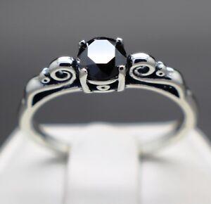 .64cts 5.62mm Real Natural Black Diamond Ring AAA Grade & $520 Value.