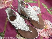 Magnifique sandales nu pieds tongs ANN TUIL blanches sandal perles shoes 39