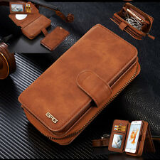 For iPhone 12/11 Pro Max X Magnetic Removable Flip Leather Zip Wallet Case Cover