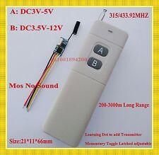 Long Range Micro Remote Control Switch 3.7v 4.5v 5v 6v 9v 12v 1CH Receiver 433