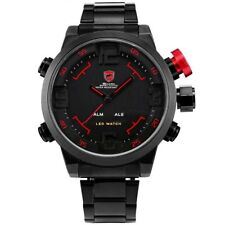 Shark Men Sport Wrist Watch LED Digital Quartz Date Alarm Black Stainless Steel