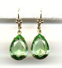 BEAUTIFUL PERIDOT green cut-crystal TEARDROP Earrings 14K Gold gp *Vintage Czech