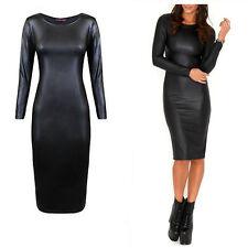 Womens Celeb Black PVC Wet Look Faux leather Long Sleeve Bodycon Midi Dress
