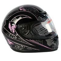DOT ADULT Pink Black Butterfly Motorcycle MOTOCROSS Full Face Helmet S/M/L/XL