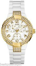 NEW-GUESS WHITE ACRYLIC BAND+GOLD TONE CRYSTALS MULTI-FUNCTION WATCH-U11623L1