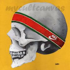 Original Print Skull Painting Vintage Nike Waffle Sneaker sKeLeToN Art Jordan