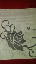 """Vintage Tri-Chem Rose Silhouette Red Tablecloth 60""""x80"""" # 8931 Ready to Paint"""