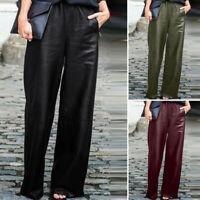 Mode Femme Pantalons en cuir Loisir Taille elastique Loisir Jambes larges Plus