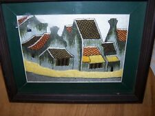 vintage hand-woven, matted & framed picture - (from Mexico?) -- Look!