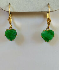 14k Solid Yellow Gold Lever Back Earrings with Natural Heart Jade1.52CT/1.05GM